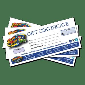Brew Thru Gift Certificates